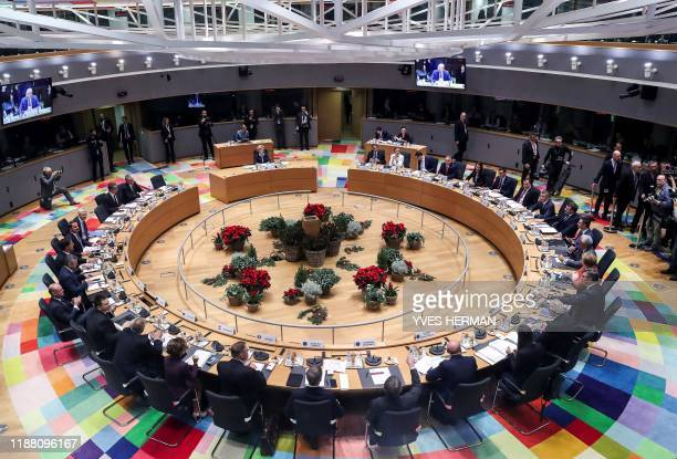 Picture taken on December 12, 2019 shows the European Council meeting room during a European Union Summit at the Europa building in Brussels. -...
