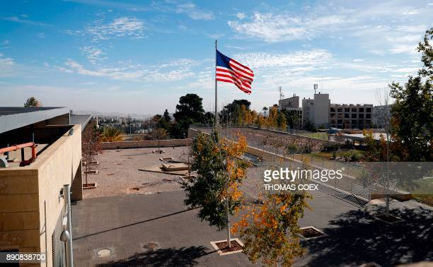 A picture taken on December 12 shows a partial view of the US consulate building complex in Jerusalem with the US flag flying The Middle East saw few...