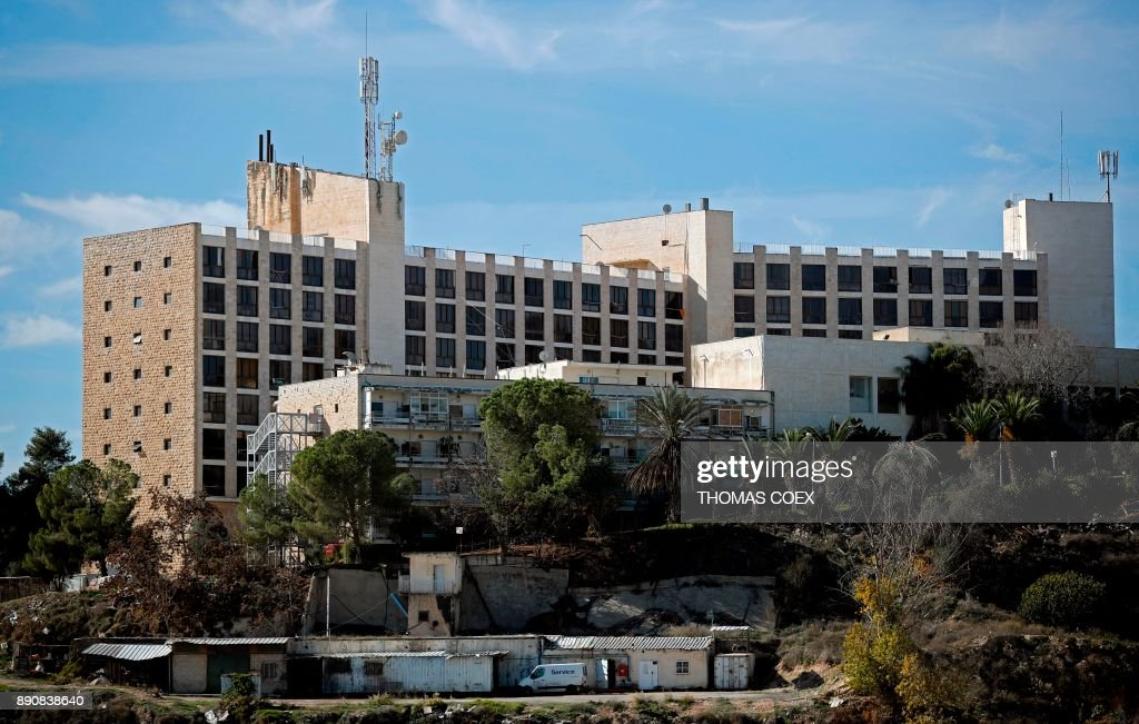 A picture taken on December 12, 2017, shows the building of the former Diplomat Hotel in Jerusalem, considered one of the options to host the new US embassy headquarters after its relocation from Tel Aviv. The Middle East saw few days of protests over US President Donald Trump's declaration of Jerusalem as Israel's capital, while further global condemnation followed the deeply controversial move. Israel sees the entire city as its undivided capital, while the Palestinians want the eastern sector as the capital of their future state. /