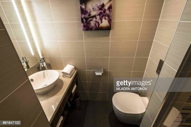 A picture taken on December 13 2017 shows a bathroom of a suite at the fourstar Hilton Garden Inn Moscow New Riga hotel which was chosen to be...
