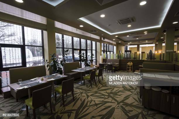 A picture taken on December 13 2017 shows a restaurant at the fourstar Hilton Garden Inn Moscow New Riga hotel which was chosen to be France's...