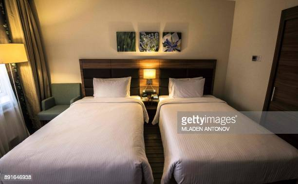 A picture taken on December 13 2017 shows a suite at the fourstar Hilton Garden Inn Moscow New Riga hotel which was chosen to be France's national...