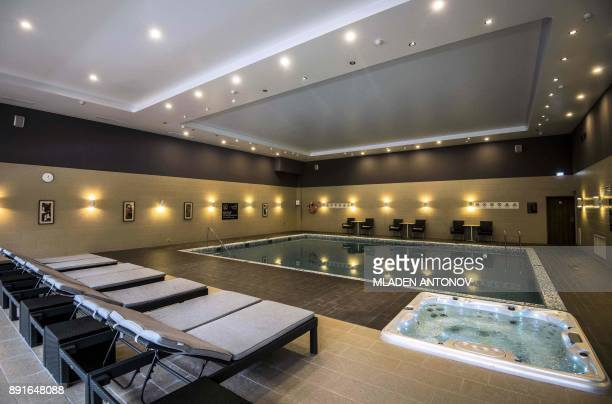 A picture taken on December 13 2017 shows a swimming pool at the fourstar Hilton Garden Inn Moscow New Riga hotel which was chosen to be France's...