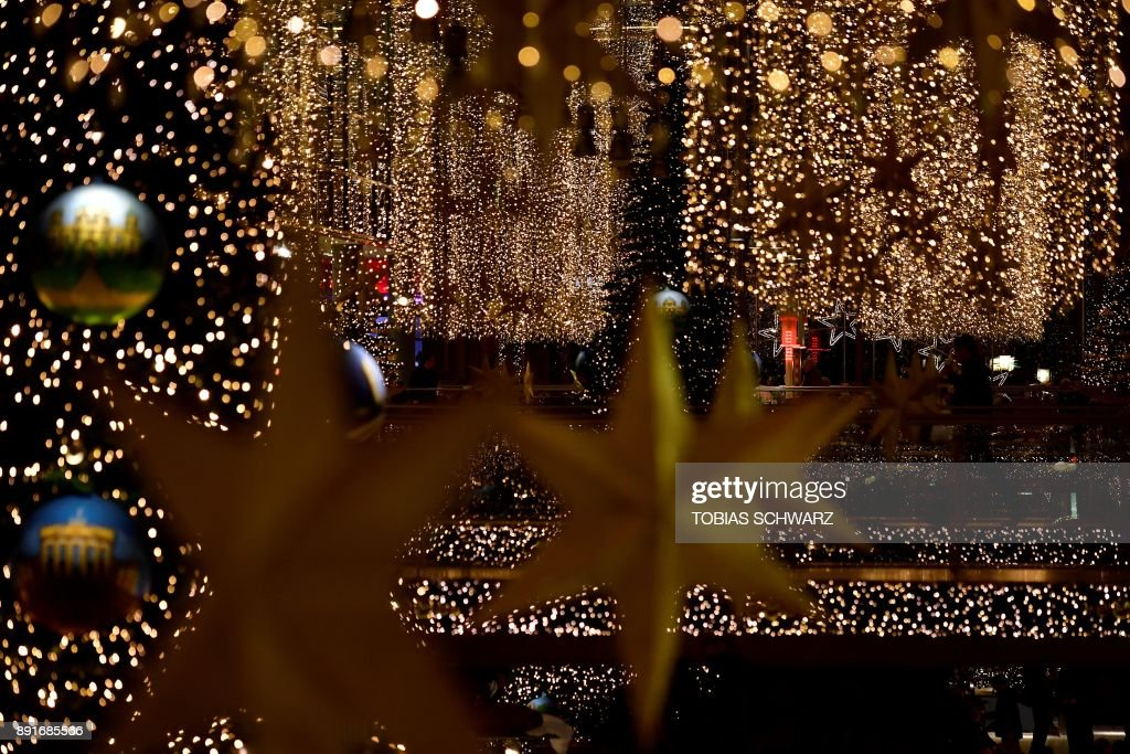 TOPSHOT - A picture taken on December 13, 2017 shows Christmas decorations  at a shopping