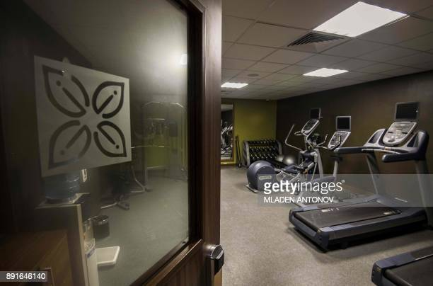 A picture taken on December 13 2017 shows the gym at the fourstar Hilton Garden Inn Moscow New Riga hotel which was chosen to be France's national...