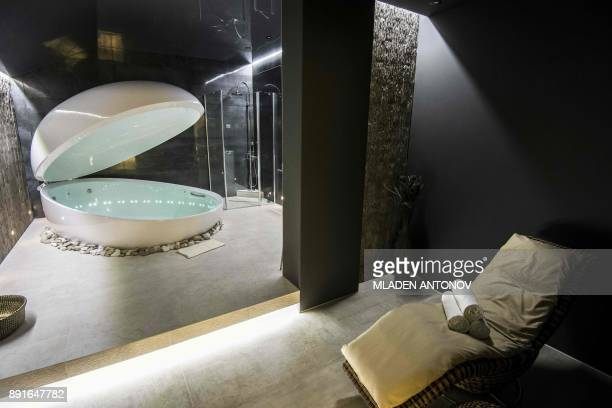 A picture taken on December 13 2017 shows the spa at the fourstar Hilton Garden Inn Moscow New Riga hotel which was chosen to be France's national...