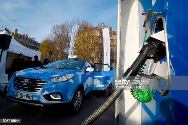 A picture taken on December 14 2015 shows the first hydrogen refueling station installed by the French multinational company Air Liquide and an...
