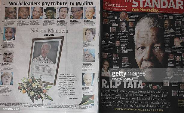 A picture taken on December 15 2013 shows the cover of a Kenyan newspaper with a picture of late South African President Nelson Mandela in Nairobi...