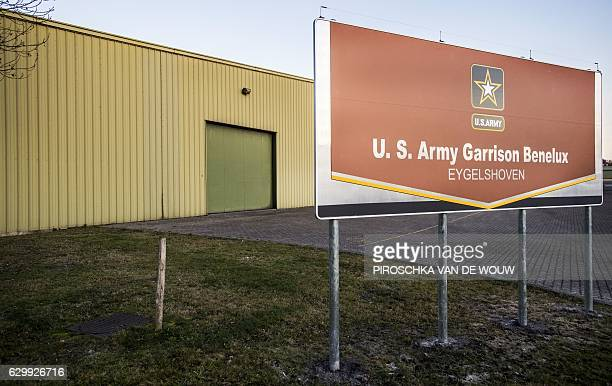 A picture taken on December 15 2016 shows the entrance of the Army Prepositioned Stocks of Eygelshoven a military complex for American equipment in...