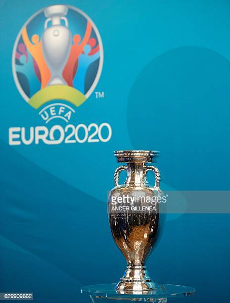 A picture taken on December 15 2016 shows the EURO 2020 UEFA European Championship trophy during the launch of the Bilbao's logo for the EURO 2020...