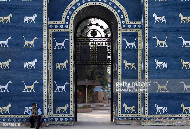A picture taken on December 17 2015 shows the Ishtar Gate at the ancient archaeological site of Babylon south of the capital Baghdad AFP PHOTO/ AHMAD...