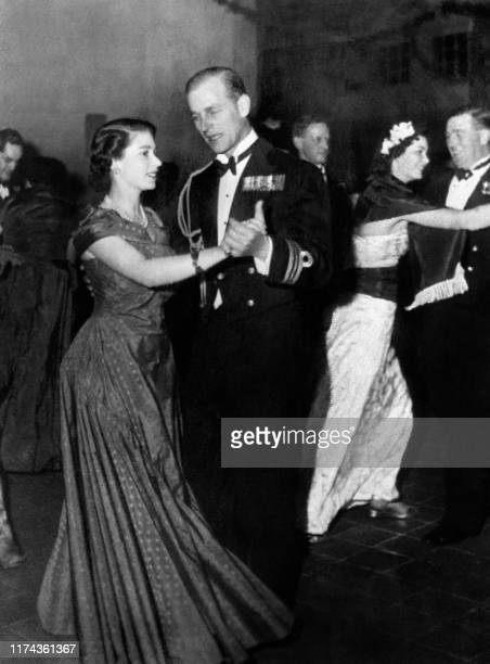 Picture taken on December 18 1950 at La Valette showing Princess Elizabeth of England the future Queen Elizabeth II and Prince Philip of Edinbourg...