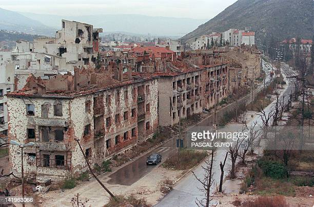 A picture taken on December 18 1995 shows a general view of Battalion boulevard in Mostar BosniaHerzegovina which was completely destroyed during the...