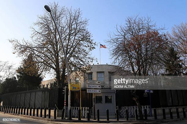A picture taken on December 20 2016 shows the US Embassy in Ankara closed for the day after a shooting incident overnight that followed the...