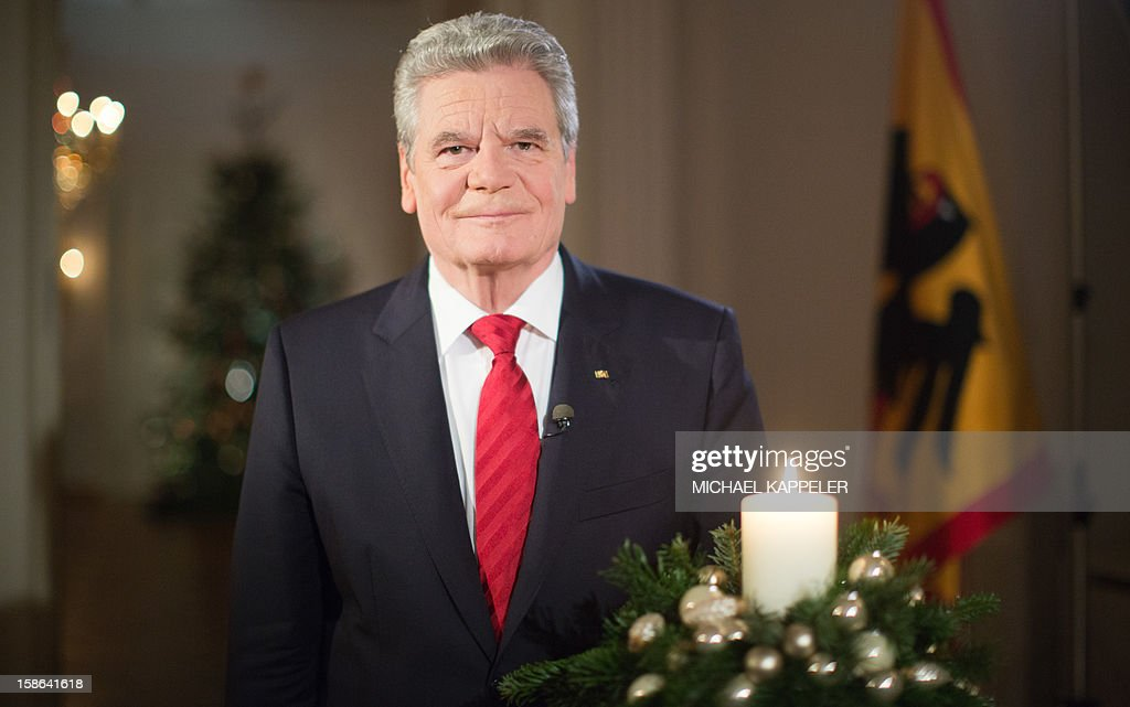 NEWSPAPERS' EDITIONS FROM DECEMBER 24, 2012 AND FOR ONLINE USE FROM DECEMBER 24, 2012, 00:01 Picture taken on December 22, 2012 shows German President Joachim Gauck during the recording of his Christmas speech at Bellevue Palace, Berlin.