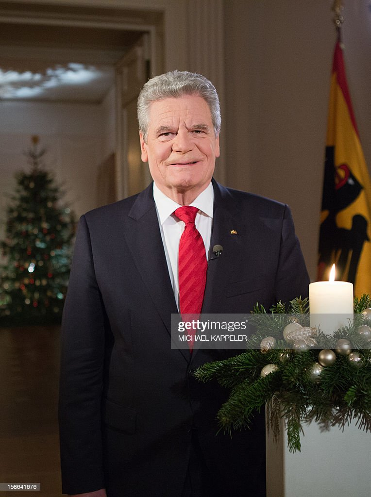 FREE FOR NEWSPAPERS' EDITIONS FROM DECEMBER 24, 2012 AND FOR ONLINE USE FROM DECEMBER 24, 2012, 00:01 Picture taken on December 22, 2012 shows German President Joachim Gauck during the recording of his Christmas speech at Bellevue Palace, Berlin.