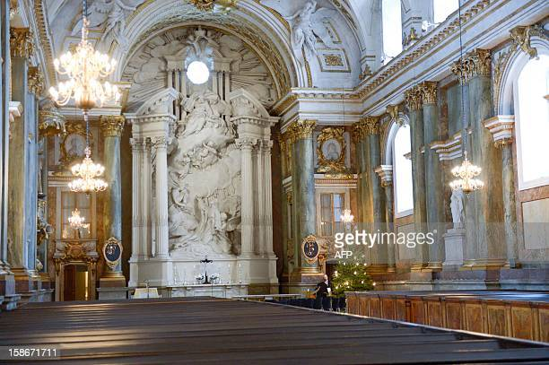 Picture taken on December 23 2012 shows the interior of the church of the Stockholm Royal Palace in Sweden It was announced by the royal court that...