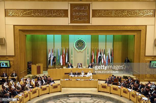 A picture taken on December 24 2015 shows a general view of the Arab League foreign ministers attending an emergency meeting in the Egyptian capital...