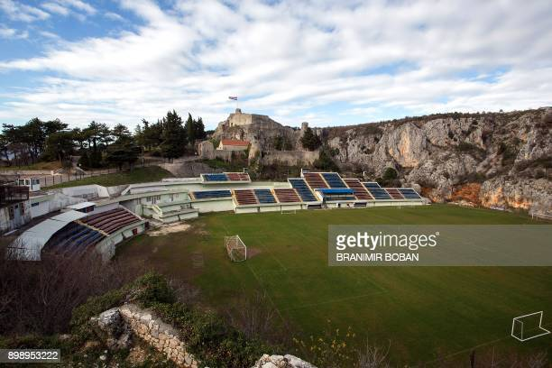 A picture taken on December 27 2017 shows a general view of Gospin Dolac stadium used by the Croatian football club NK Imotski in the town of Imotski...