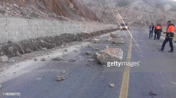 Picture taken on December 27, 2019 shows the Ahram-Farashband road blocked by a landslide triggered by an earthquake in Iran's southern Bushehr...