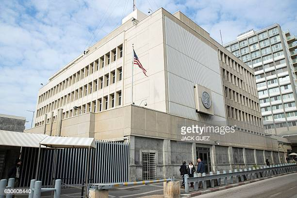 A picture taken on December 28 2016 shows the US Embassy building in the Israeli coastal city of Tel Aviv / AFP / JACK GUEZ