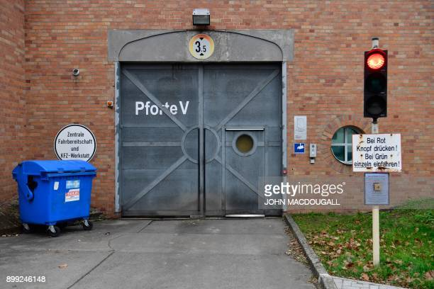 Picture taken on December 28 2017 shows one of the entrances for workers to the garage and motor pool of the Justizvollzugsanstalt Ploetzensee prison...