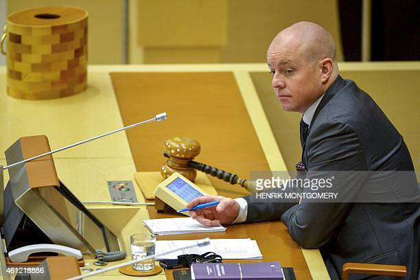 A picture taken on December 3 2014 shows Bjoern Soeder Swedish Democrat politician and second deputy speaker of the Riksdag in Stockholm A Swedish...
