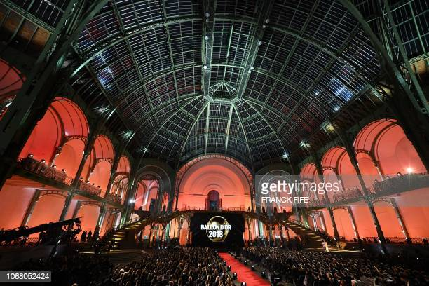 TOPSHOT A picture taken on December 3 2018 shows a general view of the 2018 Ballon d'Or award ceremony at the Grand Palais in Paris