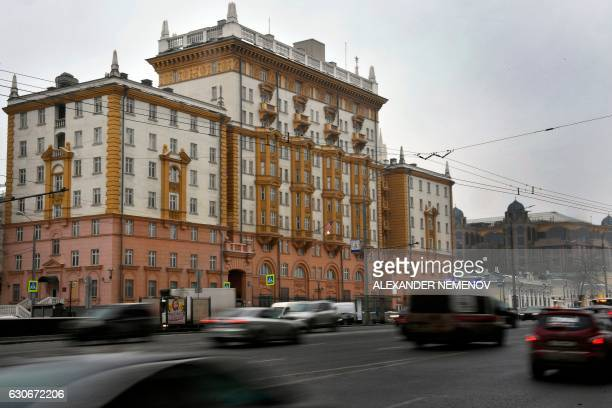 A picture taken on December 30 2016 shows a general view of a historical bulding of the US Embassy in Moscow Russia on December 30 2016 eyed...