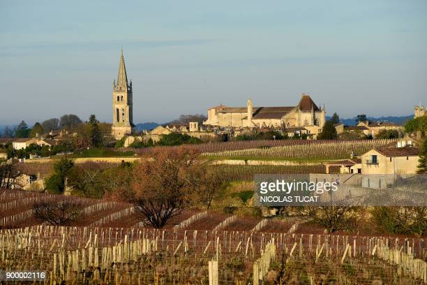 A picture taken on December 31 2017 shows the village of SaintEmilion and its vineyards in winter