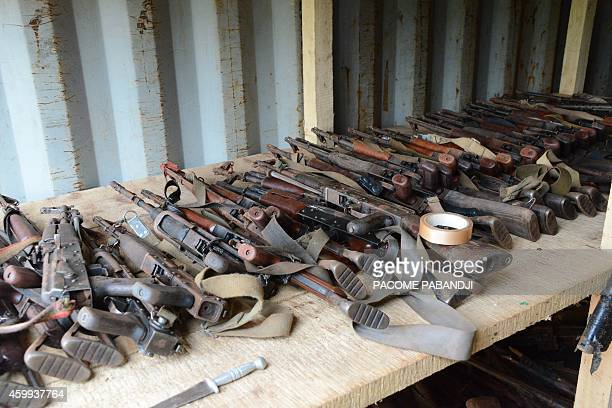 Picture taken on December 4, 2014 in Bangui shows weapons during a weapons destruction operation by the French soldiers of the Sangaris. The French...
