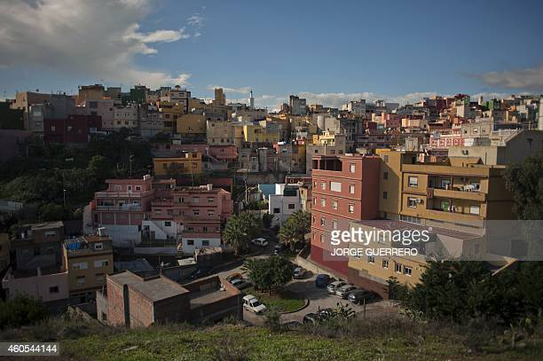 A picture taken on December 4 2014 is a general view of El Principe district in Ceuta This 99% Muslim area in Ceuta neighbouring the Moroccan city of...