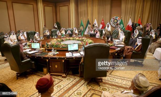 Picture taken on December 4, 2017 shows a general view of the meeting of the Gulf Cooperation Council of foreign ministers at the Bayan palace in...