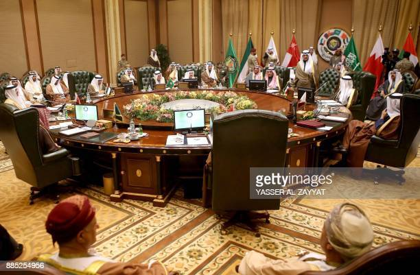 A picture taken on December 4 2017 shows a general view of the meeting of the Gulf Cooperation Council of foreign ministers at the Bayan palace in...