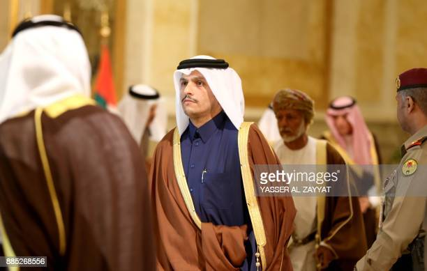 A picture taken on December 4 2017 shows Qatari Foreign Minister Mohammed bin Abdulrahman alThani attending the meeting of the Gulf Cooperation...