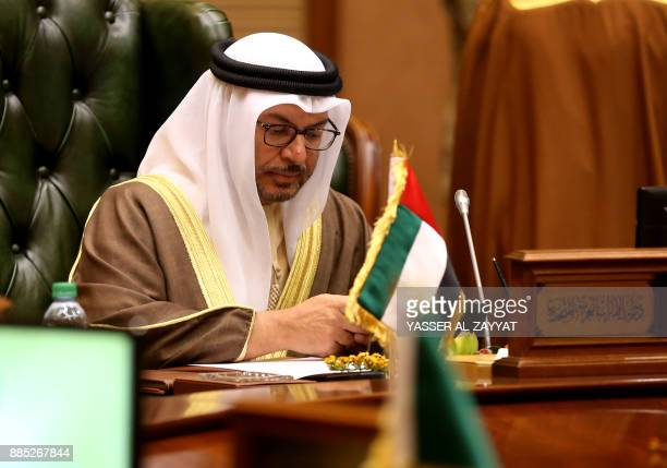 A picture taken on December 4 2017 shows UAE Minister of State for Foreign Affairs Anwar Gargash attending the meeting of the Gulf Cooperation...