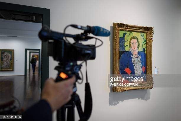 """Picture taken on December 4, 2018 shows a painting by Edgar Degas entitled """"The Blue Blouse"""" at the Kunstmuseum Bern in Bern. - When Georges F...."""
