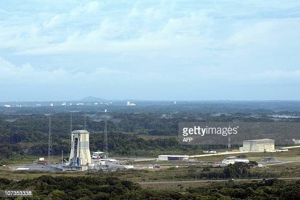 A picture taken on December 5 2010 shows an aerial view of the Guiana Space Centre and the Soyuz launch complex in Kourou French Guyana While the...
