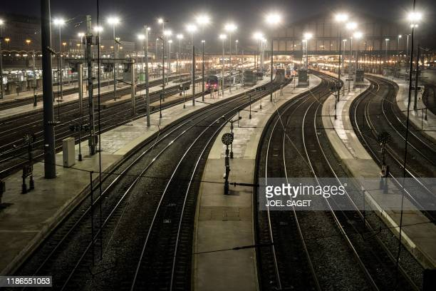 TOPSHOT A picture taken on December 5 2019 shows a view of the Gare du Nord in Paris during a strike of Paris public transports operator RATP...