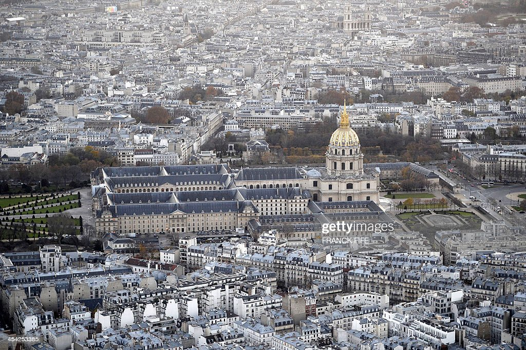 A picture taken on December 6, 2013 shows the Hotel Invalides and buildings in Paris.