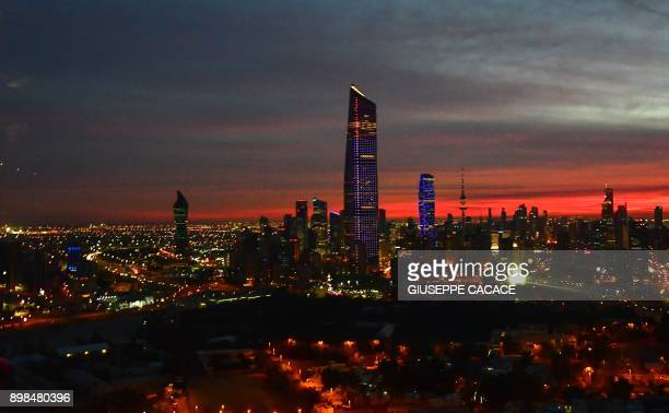 A picture taken on December 6 2017 shows a view of the skyline of Kuwait City
