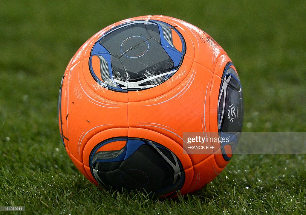 A picture taken on December 7, 2013 shows the official ball during the French L1 football match Paris Saint-Germain (PSG) vs Sochaux at the Parc des Princes stadium in Paris. Paris won 5-0.