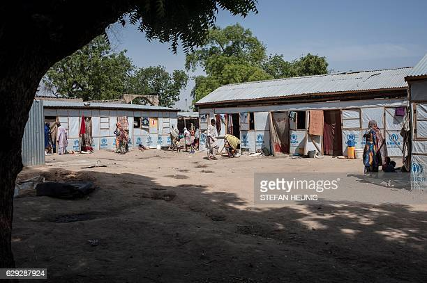 A picture taken on December 7 2016 shows a camp for internally displaced in one of the hosting communities in Maiduguri in northeastern Nigeria on...