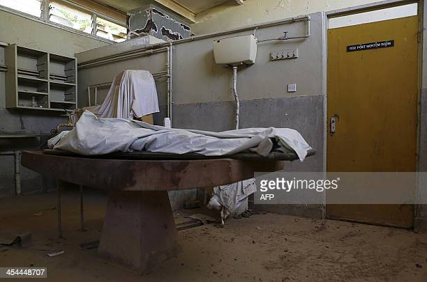 A picture taken on December 8 2013 the covered body a victim at a mortuary after he was killed in the restive town of Moyale in Marsabit county on...