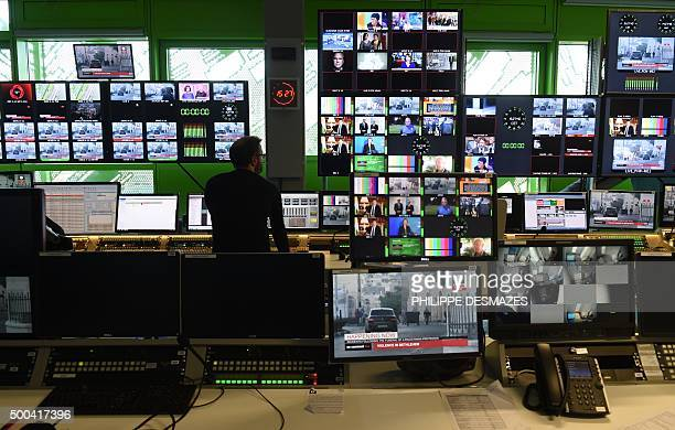 A picture taken on December 8 2015 shows the control room in the new headquarters of the multilingual news television channel Euronews in the...