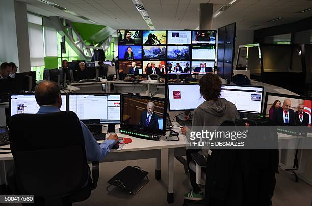 A picture taken on December 8 2015 shows the newsroom in the new headquarters of the multilingual news television channel Euronews in the Confluence...