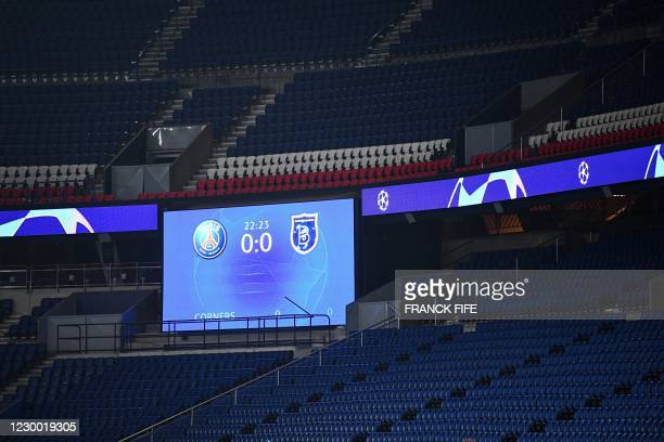 Picture taken on December 8, 2020 shows the score board and empty grandstand after the game was suspended in the first half as the players walked off...