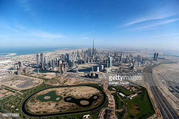 A picture taken on December 9 2015 shows a general view of Burj Khalifa the world's tallest tower in Dubai AFP PHOTO / POOL / KARIM SAHIB / AFP /...
