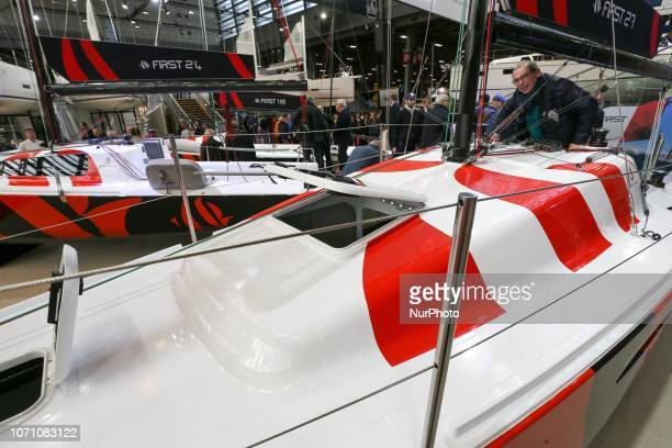 A picture taken on December 9 2018 shows a sailing boat of the American yacht manufacturer Cape Cod on display during the Paris International Boat...
