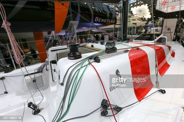 A picture taken on December 9 2018 shows a sailing boat of the French yacht manufacturer Beneteau on display during the Paris International Boat Show...